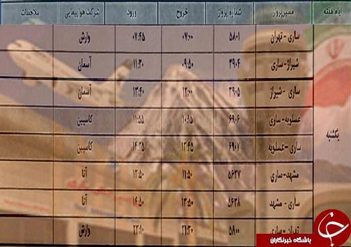 پرواز های یکشنبه 19 آبان ماه فرودگاه های مازندران