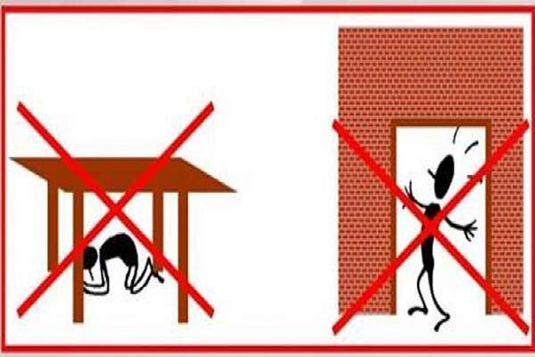 اشتباهات زلزله ای ، فرار نکنید و زیر چارچوب در نروید؛ فقط بنشینید